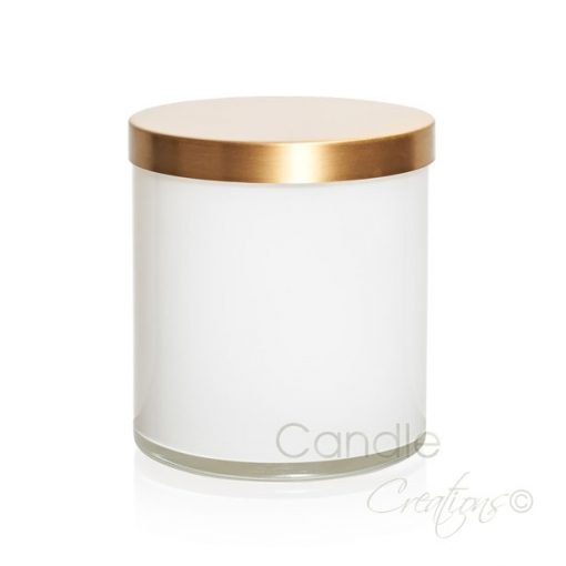 Cylinder Jar 852 Gloss White with Optional Gold Lid