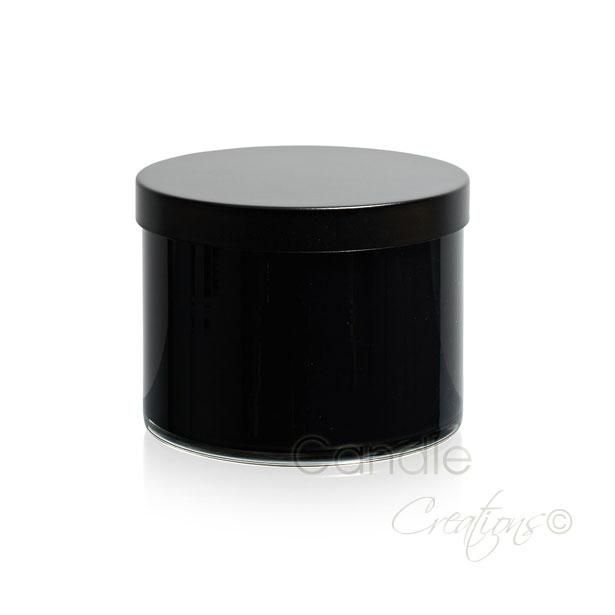 Gloss Black Cylinder Jar 851 with optional black lid