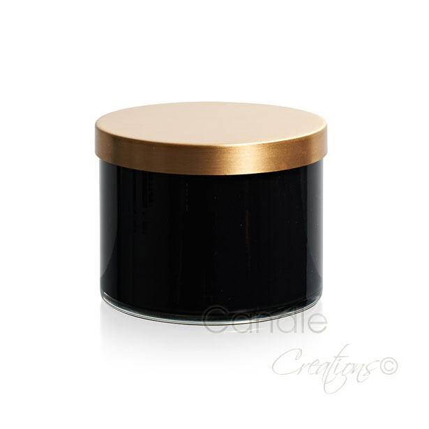Gloss Black Cylinder Jar 851 with optional gold lid