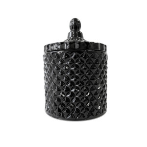 Geo large gloss black candle jar