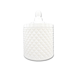 Geo large gloss white candle jar