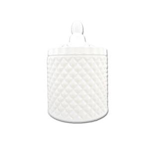 Geo large gloss white candle jar