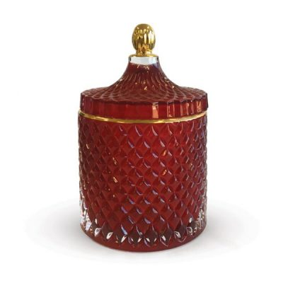 Geo large Royal Red candle jar