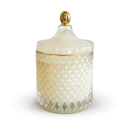 Royal Geo Large White Candle Jar